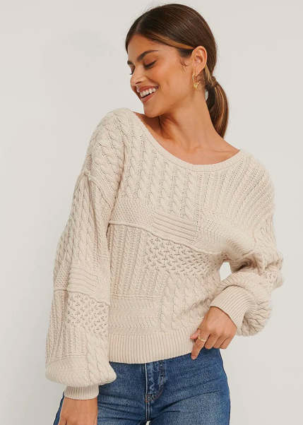 NA-KD Cable Knitted Deep Back Sweater