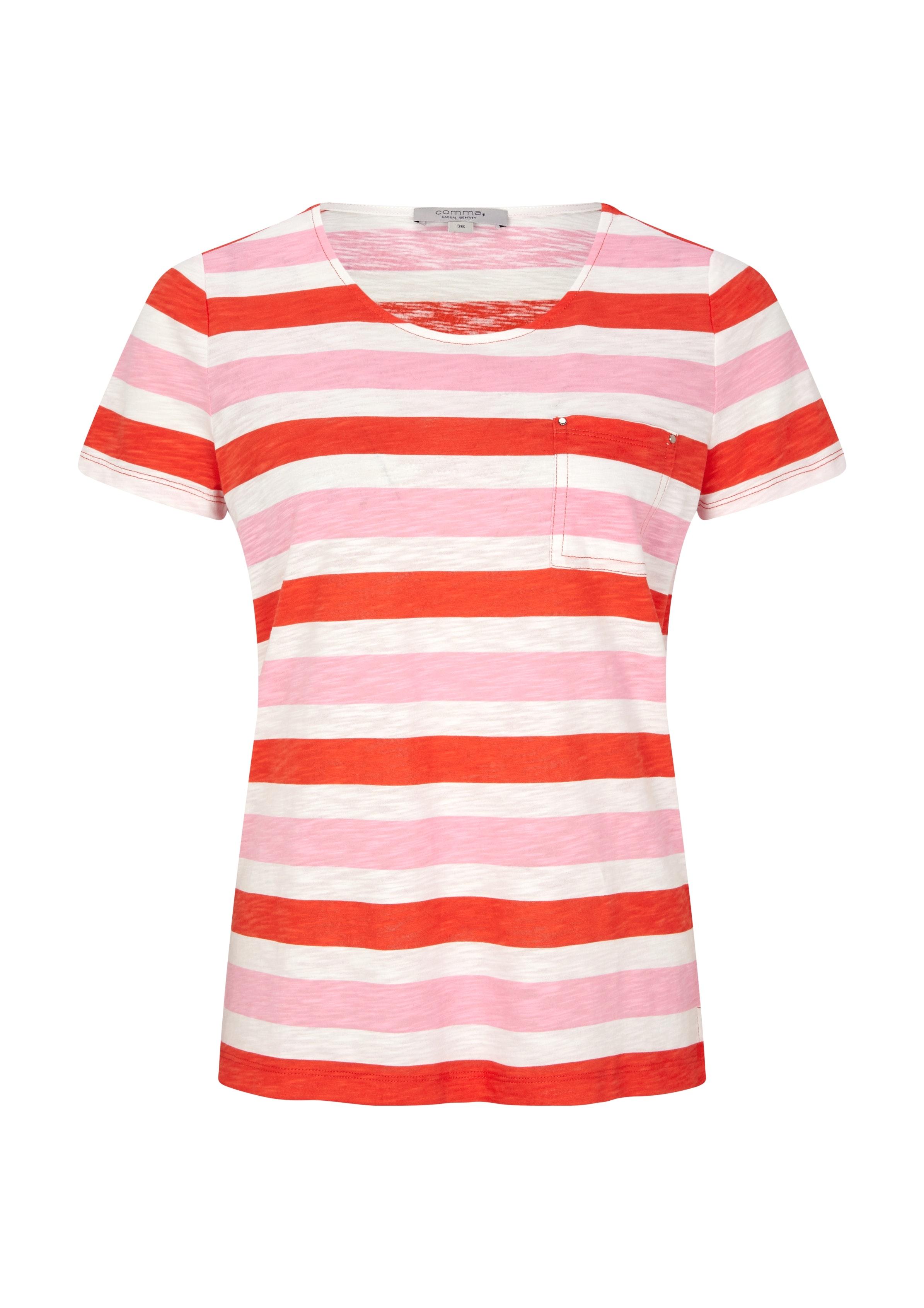 Comma Kurzarm Shirt mit Streifen